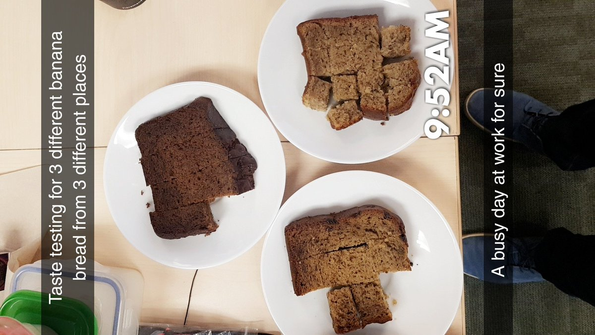 Early #BananaBread testing day at work. Verdict (Ranking): 1. @SecondCupCanada 2. @Starbucks 3. @TimHortons Second Cup wins this round. Starbucks close second. Tims gotta up its banana bread game.