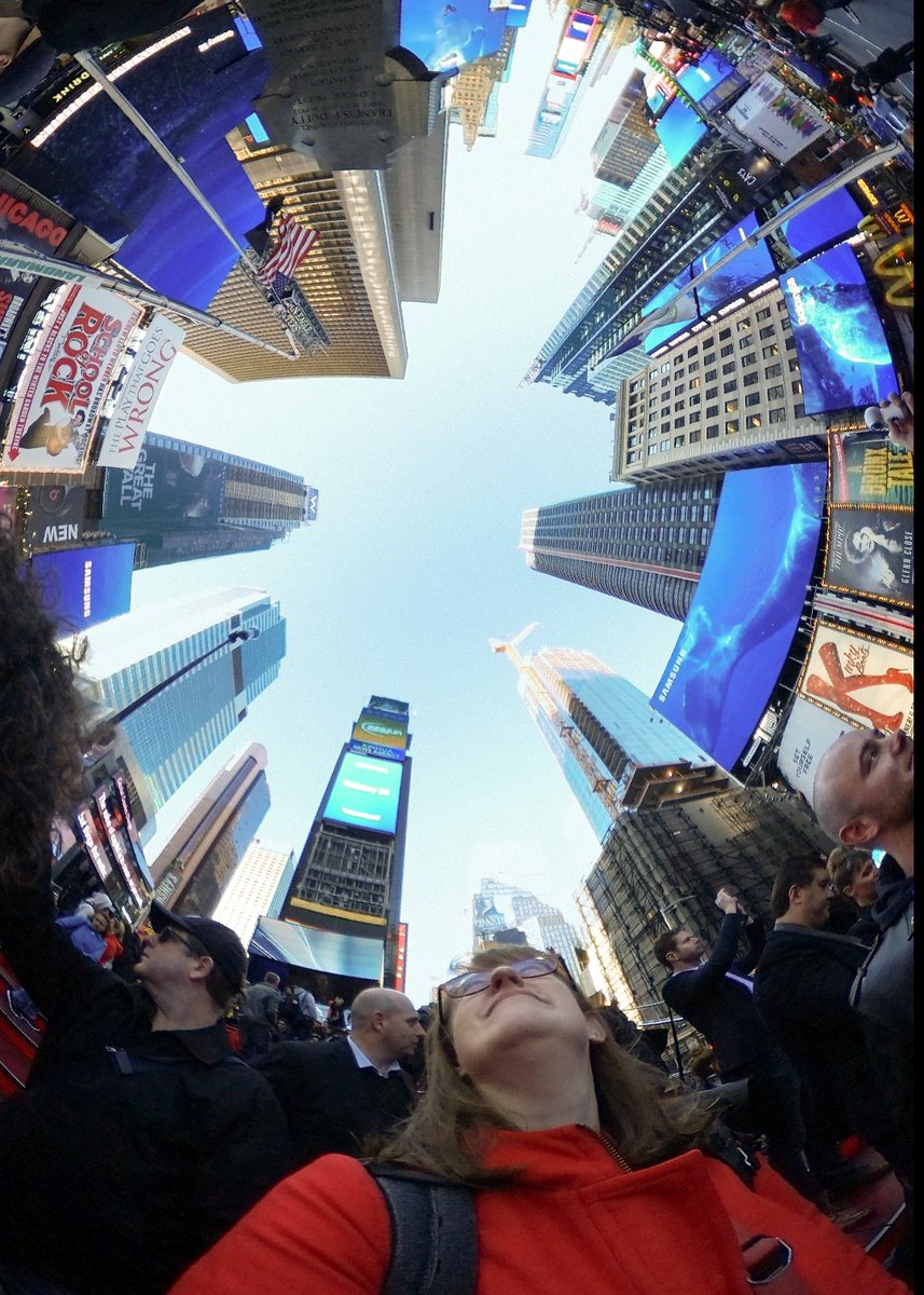 Found this old photo hiding on my Samsung Gear 360: looking up at New York's Times Square.