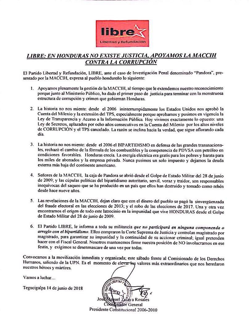 Partido Libre On Twitter Comunicado En Honduras No