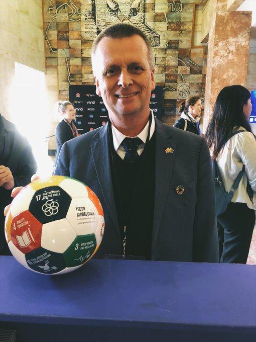 Ole Neustrup from the @DKinAustralia brings the SDG soccer ball to #BanksiaIgnite @VividSydney #vividsydney Photo