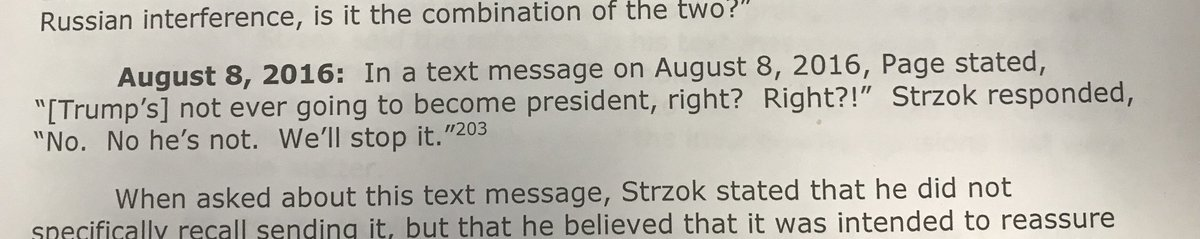"""The FBI didn't want Trump to be President. Peter Stzrok's text says """"we'll stop it."""" The day after the election, FBI Attorney #2 said he was """"stressed about what I could have done differently."""" 2 weeks later he said """"Viva le resistance.  This is as wrong as it gets. #IGReport"""