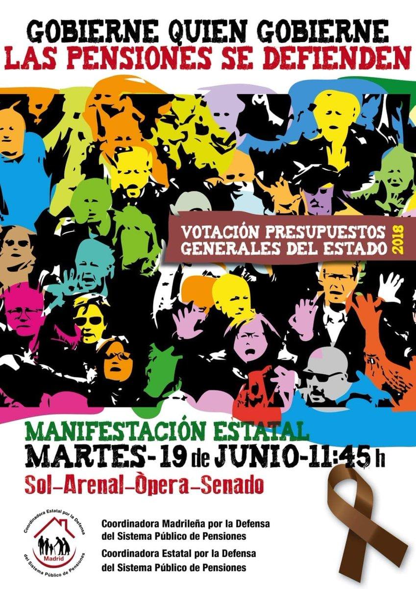 Resultado de imagen de 19 de junio, Madrid: Gobierne quien gobierne, las pensiones se defienden