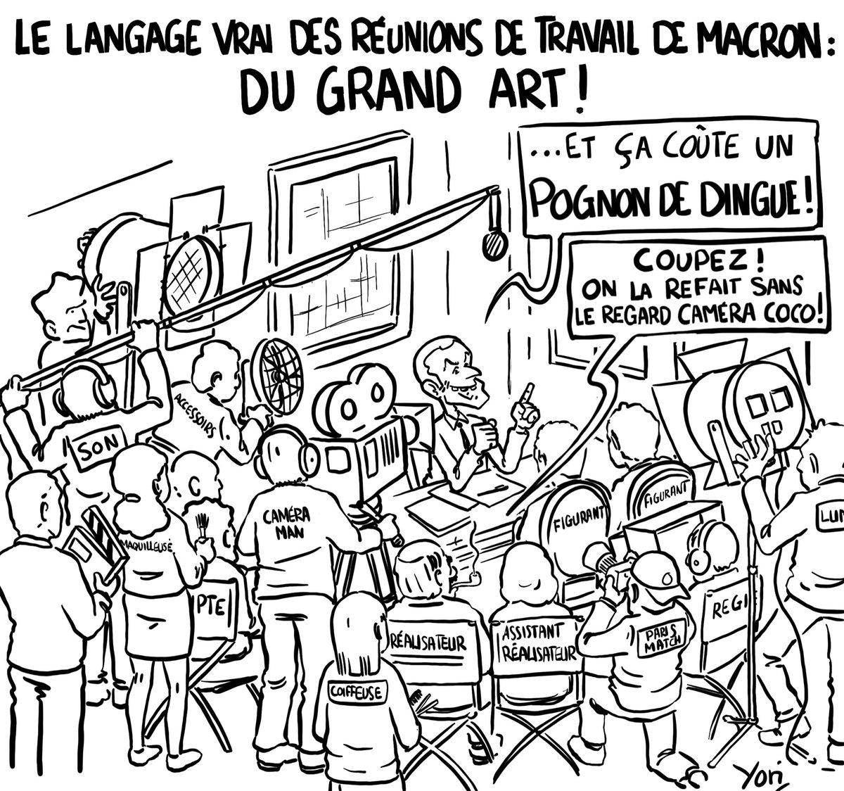 Comedia del arte ! Source :  https:// tinyurl.com/y9t8ye5h     #Macron #pognondedingue #pognondingue #Reunion #aidesSociales #reformes #Gouvernement #dessin #DessinDePresse #DessinDuJour #DessinDuSoir #humour #Cinema<br>http://pic.twitter.com/7HJj3xyOzg