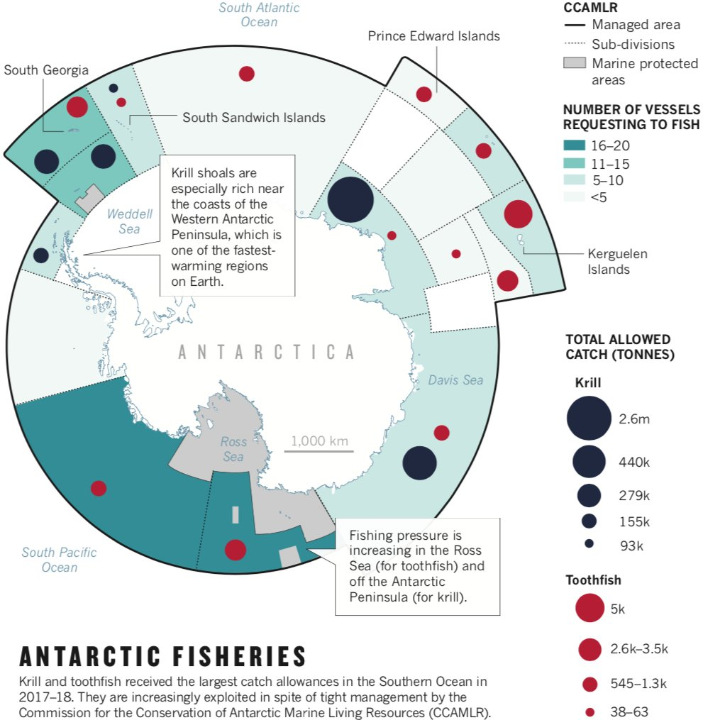great piece and infographic about the issues at play in the antarctic:  fishing, mpas, climate change, and @ccamlr1 negotiations with  @jenniferjacquet
