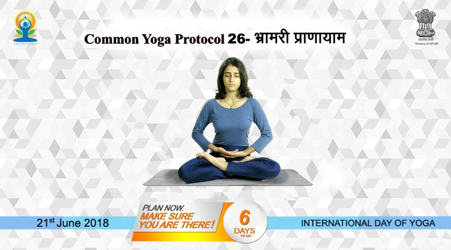 सामान्य योग अभ्यासक्रम (CYP) 26 भ्रामरी शब्द भ्रमर से लिया गया है, जिसका मुख्य अर्थ है भौंरा। इस प्राणायाम के अभ्यास के समय निकलने वाला स्वर भ्रमर के भिनभिनाने के स्वर की तरह होता है। और जानकारी के लिए - yoga.ayush.gov.in #AYUSH #ZindagiRaheKhush #IDY2018