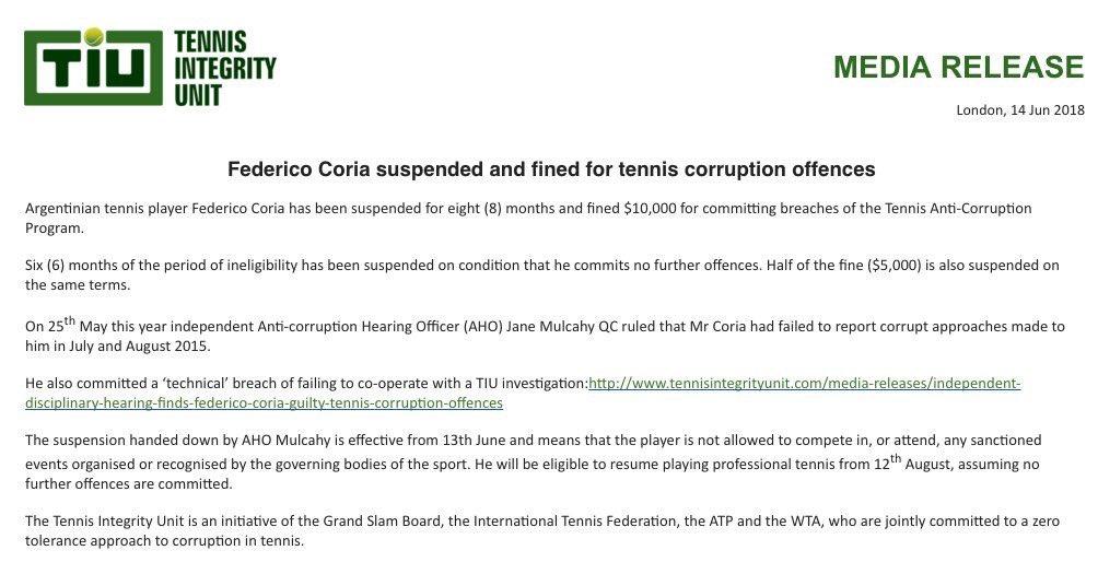 Fede Coria fue suspendido por 8 meses y 10 mil dólares de multa por haber ocultado un intento de soborno en un Future de 2015. Sin embargo, de no volver a incurrir en una infracción, esa sanción se reduciría a dos meses y 5 mil dólares