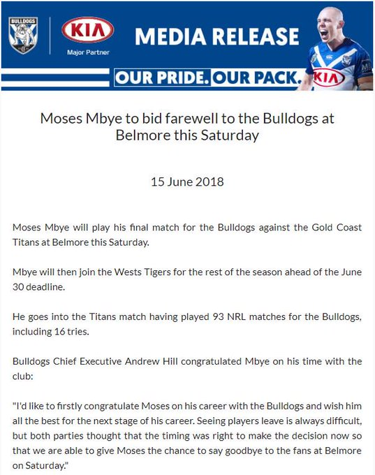 CONFIRMED | Moses Mbye plays his final match for the Bulldogs tomorrow before joining the @WestsTigers for the rest of the season. #NRL Photo