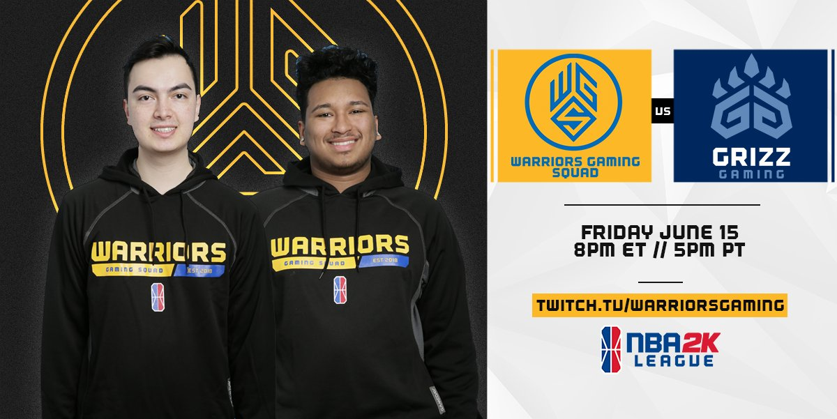 Pumped to be back in the regular season and ready for our next dub! Were up next against @GrizzGaming! #WGSWIN #NBA2KLeague 📺: twitch.tv/warriorsgaming