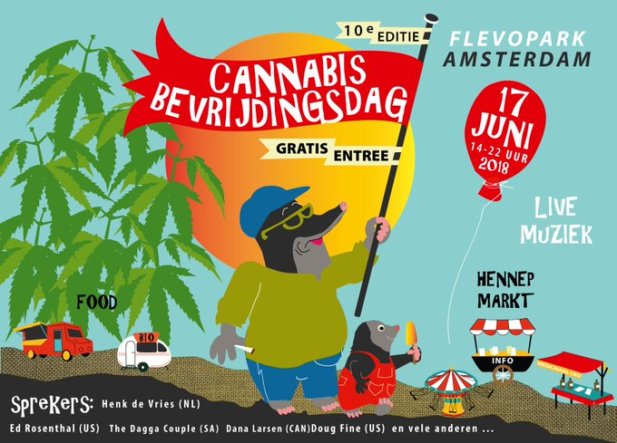 Join me June 17th at the 10th Annual Cannabis Liberation Day 2018 in Amsterdam! @cannabisdayams celebrates the international cannabis culture. More info🌱 Photo
