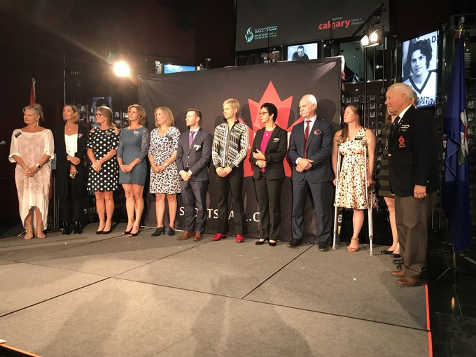 What a group! Some of Calgary's own Canada's Sports Hall of Fame members. #InspireCanada Photo