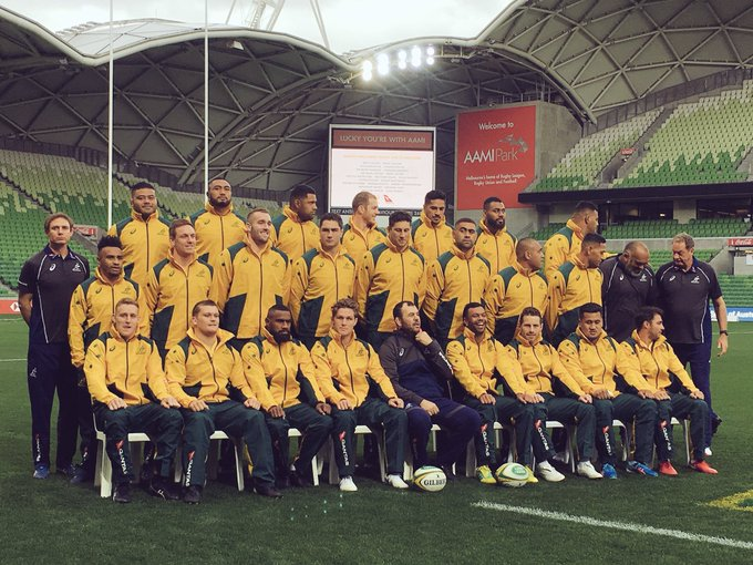 Your @qantaswallabies team for the Second test V Ireland. Great to had test rugby here in Melbourne this weekend. #goldblooded Photo