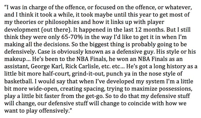 Nick Nurse, on with @OverDrive1050, asked about how he differs from his predecessor and former boss Dwane Casey Photo