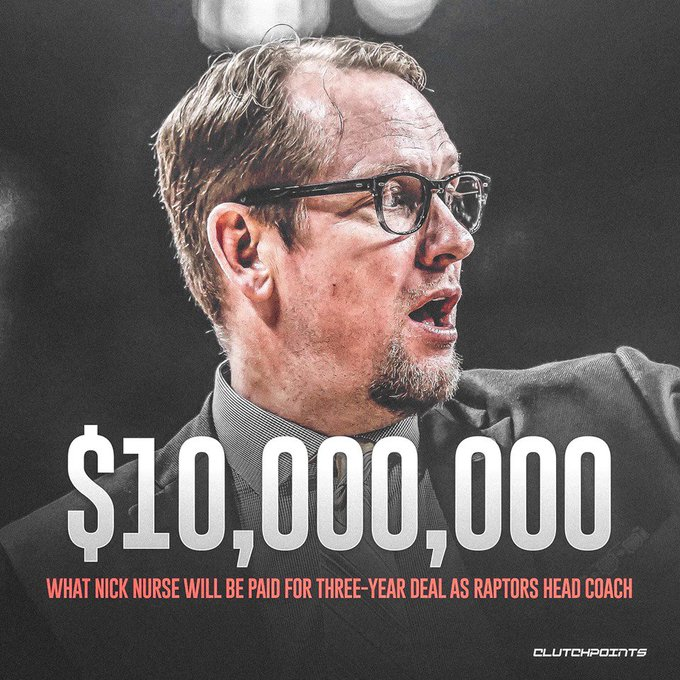 The Toronto Raptors new head coach, Nick Nurse, is about to be paid. 💸💰 Photo
