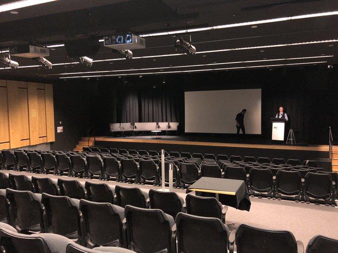 Rehearsing for my keynote speech at #CreativeState about @MuseumHack. I've presented dozens of times to big audiences. But still practice the full thing to keep my game lock tight. Ideally I can rehearse on stage to empty room, like now while everyone is out at lunch Photo