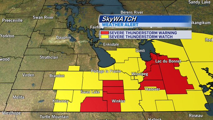 CTV Skywatch Weather Alert: A Severe Thunderstorm Watch or Warning is in effect for the regions below. #mbstorm Photo