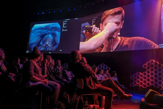 A hard act to swallow, we mean follow! Anatomy of a beatboxer. Dr Matthew Broadhurst examines Australian beatboxer @TomThummer 's vocal chords with fascinating, yet graphically disturbing results. #TEDxSydney #HumanKind Photo