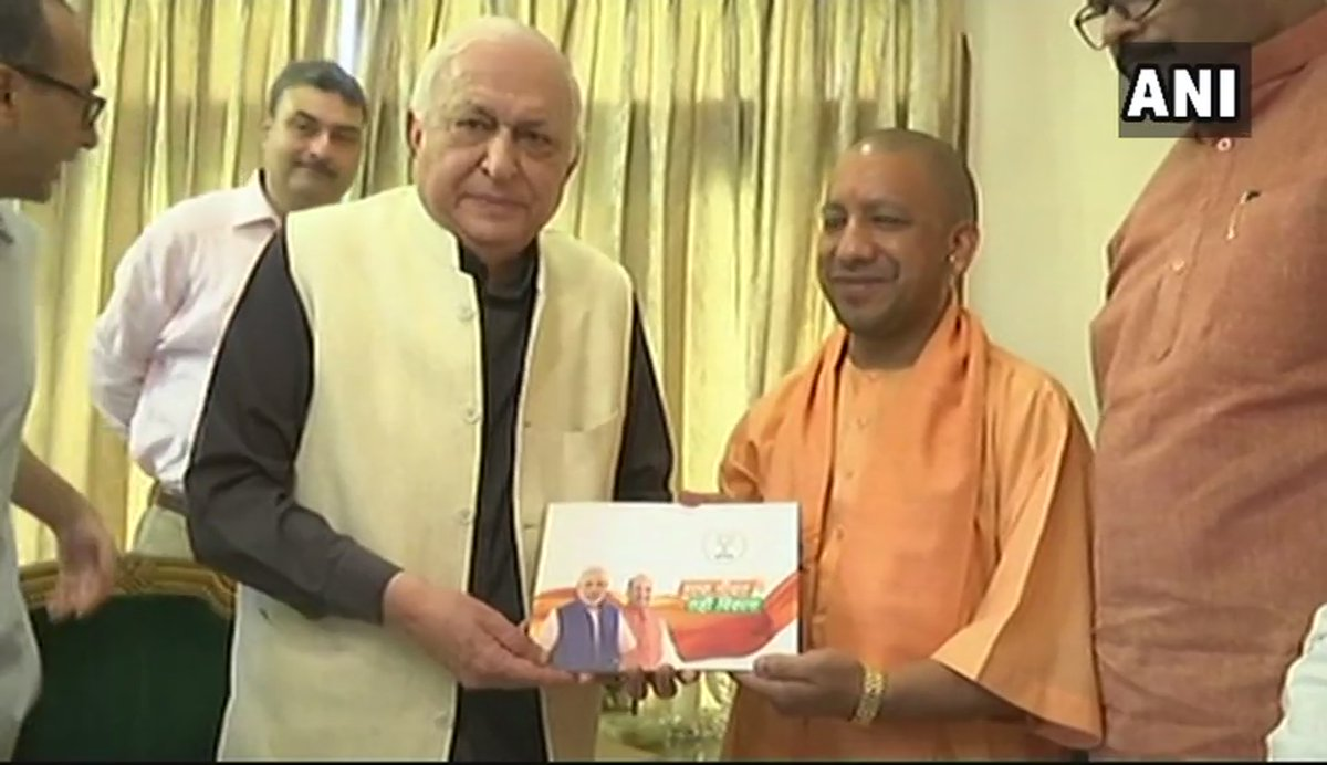 Image result for Cm yogi adityanath met prominent personalities of lucknow