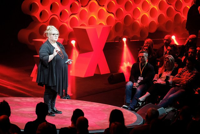 """Even Hercules is afraid when confronted with many enemies"". A fitting final speaker for this year's #TEDxSydney's theme of #HumanKind. The incredible @MagdaSzubanski finishes the day with an inspiring talk about courage and her own personal journey to achieve it. Photo"