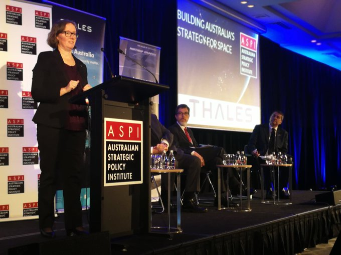 Our Dr Sarah Pearce spoke at #ASPIspace today: We are committed to nurturing the capabilities of our local space sector, through collaboration, partnership and investment. Thanks @ASPI_org for a great conference this week #CSIROspace ^GR Photo