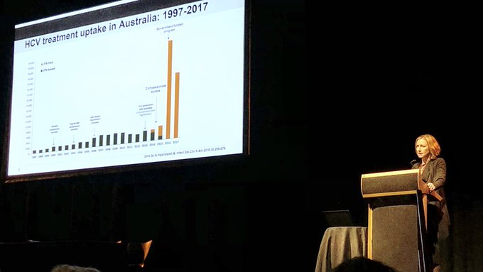 Gail Matthews from @KirbyInstitute on effect of providing universal access to treatment for hep C in Australia: massive uptake of treatment and 1000s cured in 2yrs #DACSymposium Photo