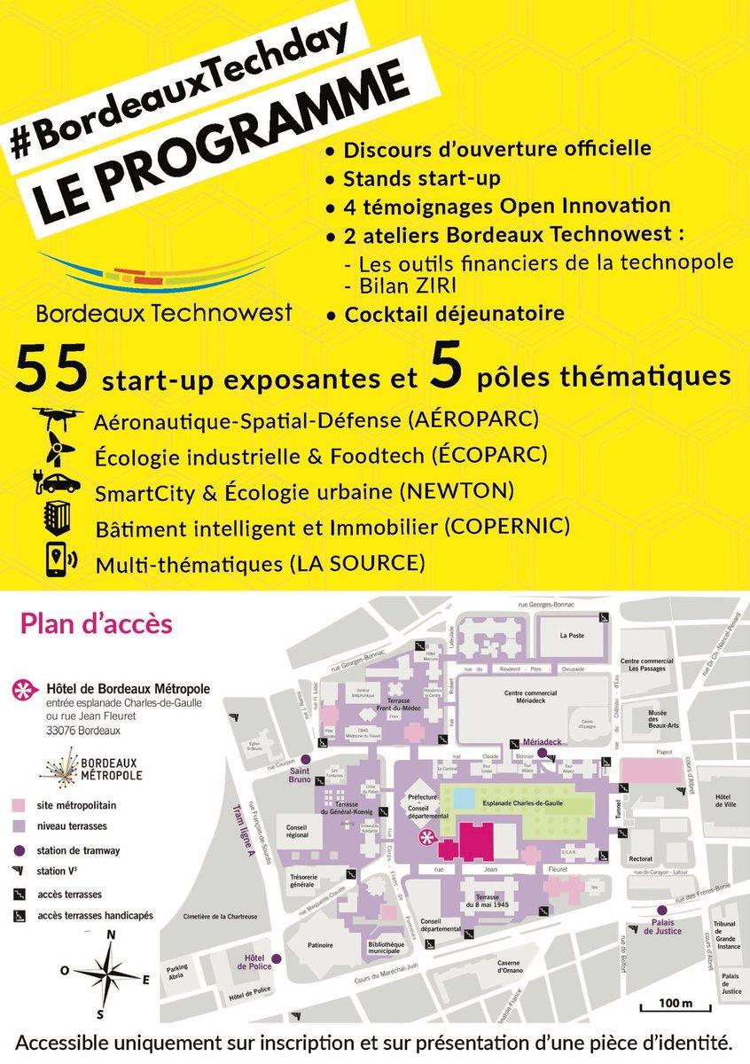 📢 #BordeauxTechday : demandez le programme ! 💬 4 #pitch dédiés à l'#openinnovation grands groupes 💰2 #workshop fonds d'amorçage «TechnoStart» et #ZIRI 🍹 Un cocktail de #reseautage  🎈.. Et 55 #startup exposantes ! Déjà + de 250 inscrits, et vous ?  https://t.co/COKWmU15OB