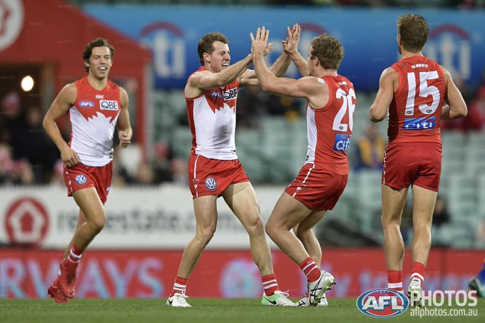 FT: @sydneyswans (72) def @WestCoastEagles (57). #AFLSwansEagles Photo