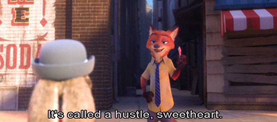 「詐欺師って呼んでくれる?」吹替版だと台詞はこうなっています。が、字幕版では「it's called a hustle sweetheart?」です。「詐欺師って言うのさ、かわいこちゃん」である。かわいこちゃん…。#ズートピア