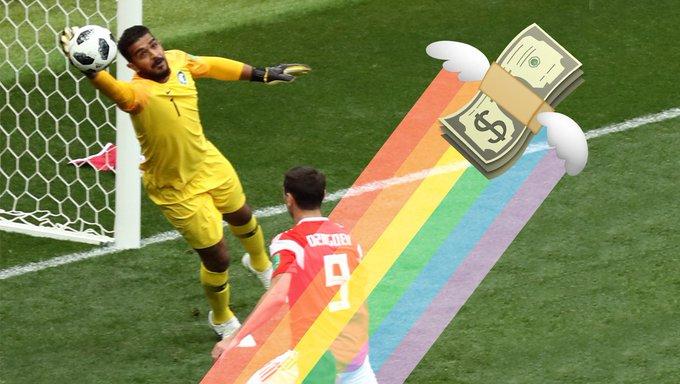 Ein irisches Wettbüro spendet Pfund für jedes Tor der russischen Mannschaft an eine Stiftung, die sich für die Rechte der LGBT-Community einsetzt. Beim Eröffnungsspiel gestern machte das schon Euro. Foto