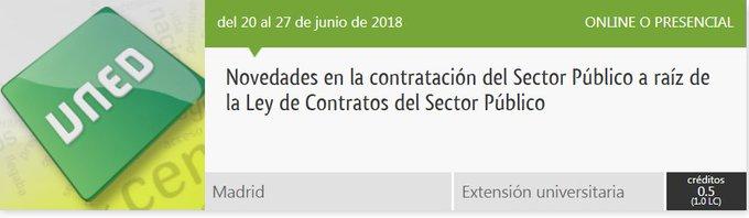 Ven a conocer los cambios en los Contratos del Sector Público a partir de la Ley 9/2017, de 8 de noviembre. Te esperamos del 20 al 27, de 16:00 a 21:00 horas en Centro Asociado a la UNED en Madrid, Gregorio Marañón. Infórmate en: ¡No te lo pierdas! Foto