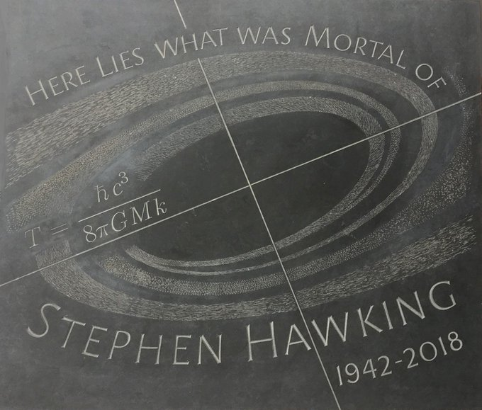 Memorial stone to Stephen Hawking, which reads 'Here Lies What Was Mortal of Stephen Hawking 1942-2018'