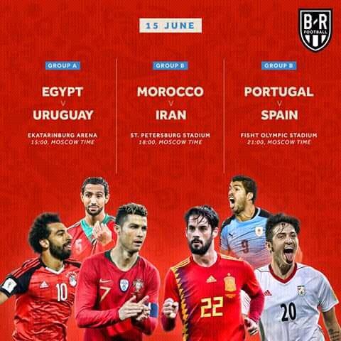 #CDM2018 La 2è journée de la #coupedumonde en #Russie, 3 matchs sont au programme. Deux pays #Africa ins vont faire leur debut #Maroc #egypt avec un choc très attendu #PortugalVsSpain . A 14h00, #egy vs #uruA 17h00, #mar vs #Iran A 20h00, #por vs #Esp Bonne chance #Afrique  - FestivalFocus