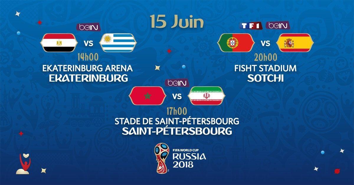 Le programme du jour #CM2018 De beaux matchs en perspective !#iran #maroc #portugal #espagne #egypt #uruguay  - FestivalFocus