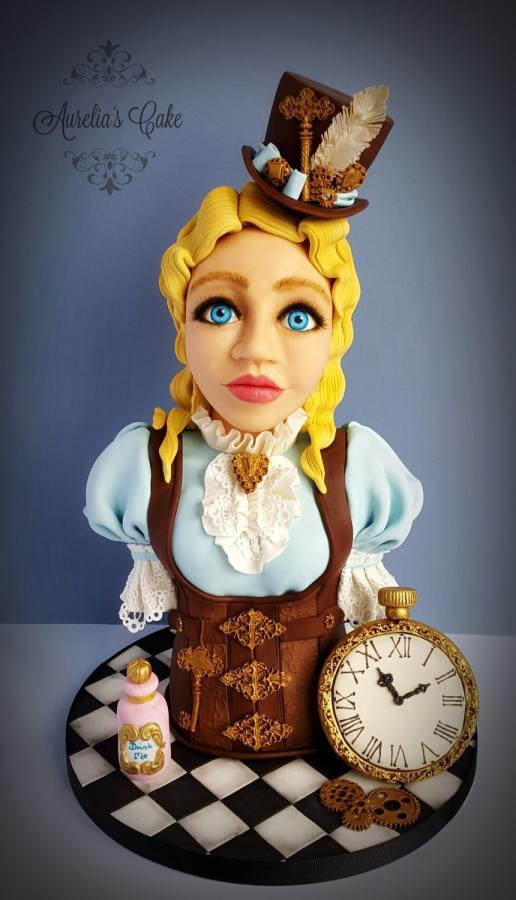 #Steampunk ⚙️ Awesome of the Day: #Alice with Hat 🎩 #Corset & Clock 🕙 #Cake 🍰 by Aurelia's Cake via @CakesDecor #SamaCake
