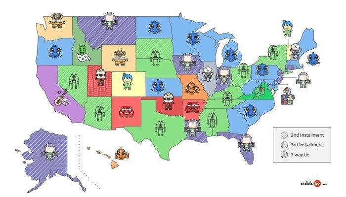 Map Of America Georgia.Map Finding Dory America Favorite Pixar Movie Georgia Agrees Alabama