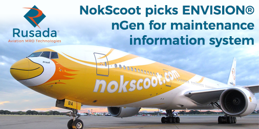 We are delighted to announce @nokscoot have chosen ENVISION nGen from Rusada to manage their maintenance information system. #AvMRO #Aviation # Maintenance #MRO https://t.co/Ii7XoY1L87