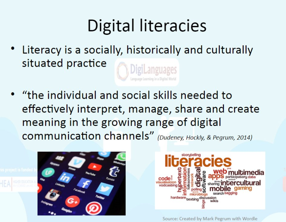 our #cmcsig webinar contributor Odette from Dublin Institute of technology shares the situated nature of digital literacies #context #culture @EurocallLang