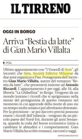"""@iltirreno segnala la presentazione di """"Bestia da latte"""" di Gian Mario Villalta alla Libreria Ghibellina di Pisa!http://goo.gl/L4D6JC#15giugno #leggiamo  - Ukustom"""