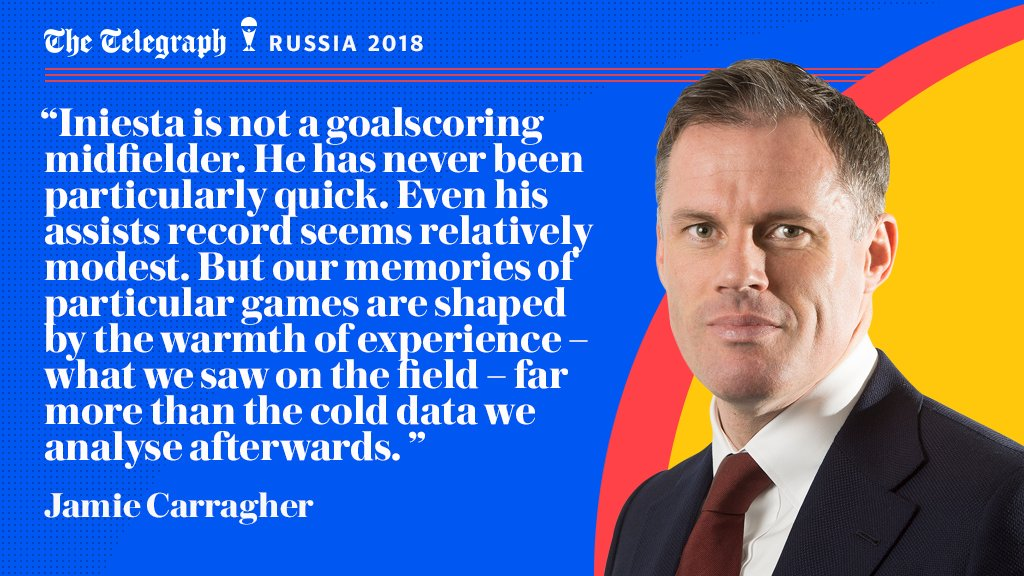 Jamie Carragher: Andres Iniesta has transformed football - watching him is pure pleasure #WorldCup telegraph.co.uk/world-cup/2018…