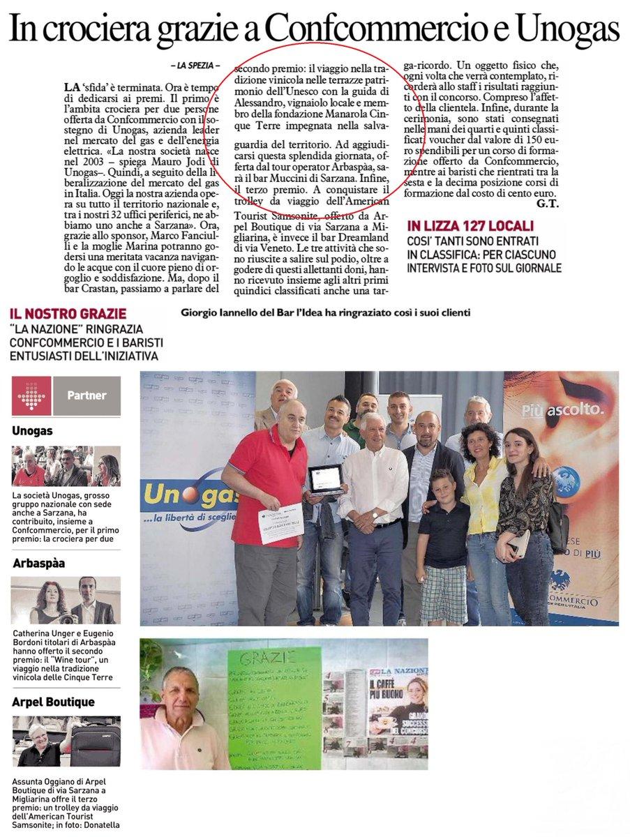 Complimenti al #BarMuccini di #Sarzana, che si è classificato 2° nel concorso #LaTazzinadoro lanciato da @qn_lanazione #LaSpezia e @ConfcommercioSp, vincendo un #winetour di @arbaspaa x2pp https://bit.ly/2J1yOQM  - Ukustom