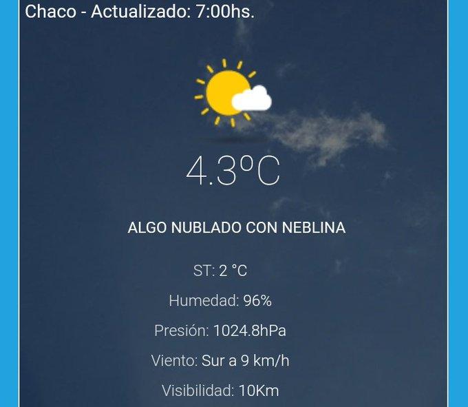 #BuenViernes 🌬️🙋 Mucho frío en la mañana de esta jornada 🌡️❄️ Así está #RESISTENCIA 😱🍃 Sensación Térmica 2 °C Photo