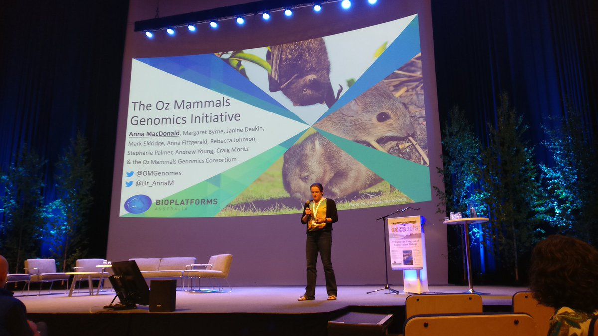 Over 80% of Aussie mammals are endemic, and have seen large declines since Europeans arrived but  @Dr_AnnaM describes how the Oz Mammals initiative to provide genomic resources for effective conservation management #genomics #conservationoptimism #ECCB2018 <br>http://pic.twitter.com/SYSRc7FEJF