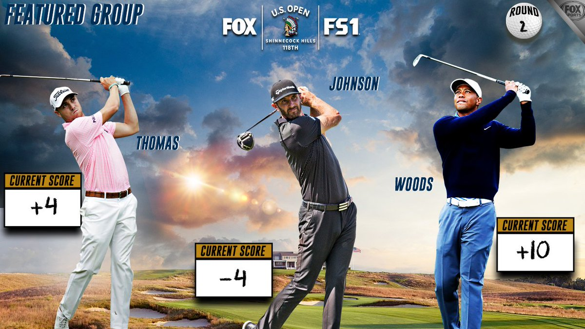 Dustin Johnson ends the second round atop the leaderboard. #USOpen