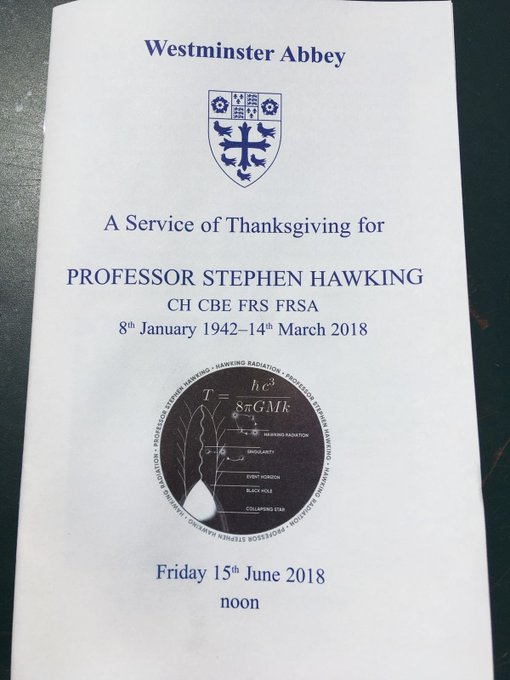 Against all the odds, Stephen Hawking inspired millions with his work. It was an absolute privilege to join his family at Westminster Abbey for a moving tribute to him and the huge legacy he has left behind. ภาพถ่าย