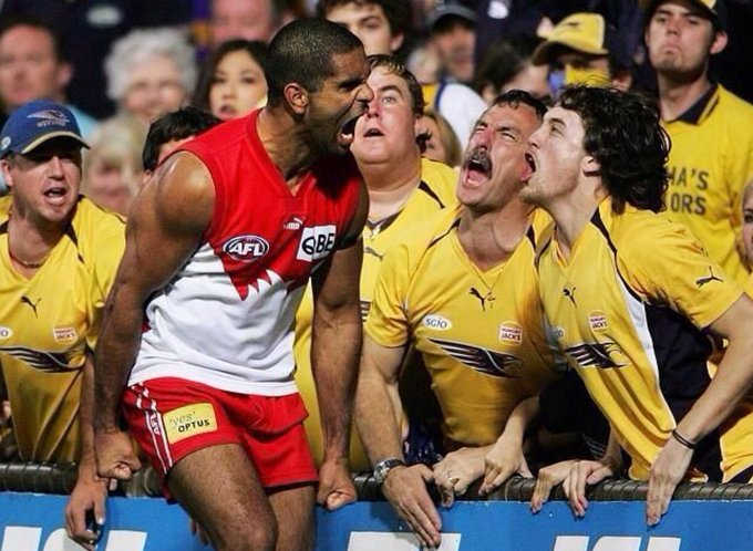 Good, tough footy tonight. Memories of the intense 1 on 1 battles. My favourite pic of those days! @MickOLoughlin #AFLSwansEagles Photo
