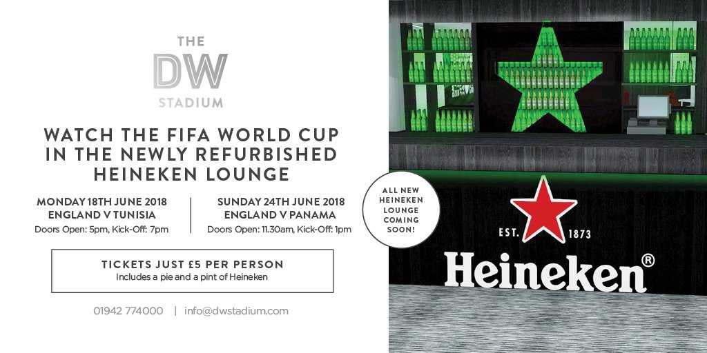 ⚽️ Join us on Monday for the England v Tunisia match in our newly refurbished @Heineken_UK lounge. 🌟Football, a pint of @Heineken and a pie for just £5 per person Under 18s can attend for just £2.50 per person and will be provided with a pie and a soft drink.