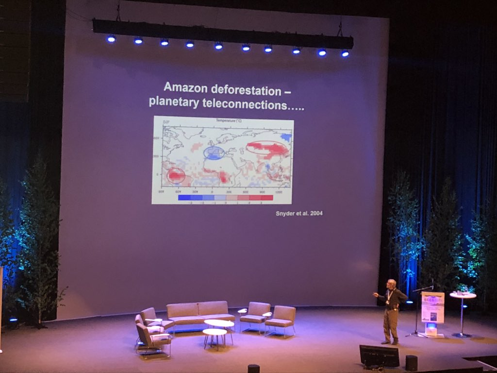 Deforesting the Amazon would lead to a cooler Mediterranean and 2-3 deg temp increase in east Asia. Incredible example of the interconnectivity of global climate by Will Steffen #ECCB2018