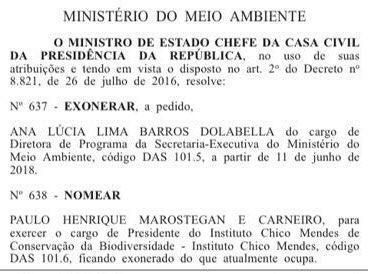 Saiu no Diário Oficial! Paulo Carneiro,ex-diretor dos Parques Nacionais de Brasília e da Chapada dos Veadeiros, é o novo presidente do ICMBio. Parabéns aos servidores que se mobilizaram contra o loteamento político do órgão. Legitimidade não se negocia!