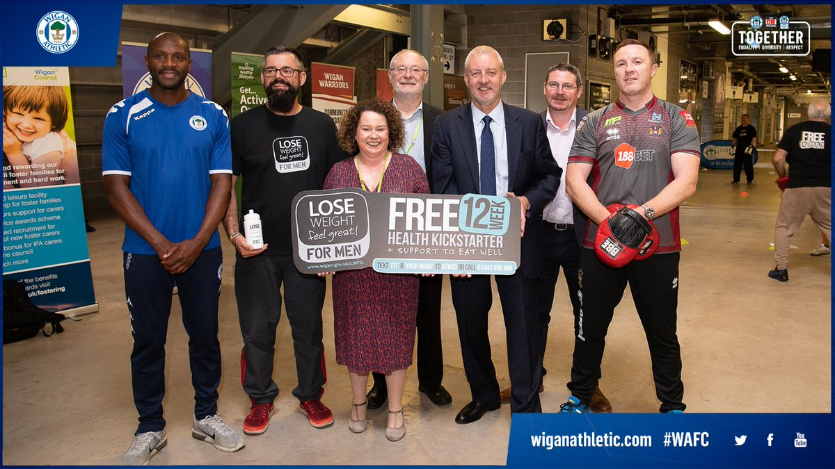 💪 Latics and @WiganWarriorsRL have today teamed up to defeat male obesity across the borough. 🌟 The Lose Weight, Feel Great FOR MEN campaign was launched by @EmmersonBoyce, @krisradlinski1 and @KateAlvanley at the DW Stadium. ➡️ wiganathletic.com/news/2018/june… #wafc