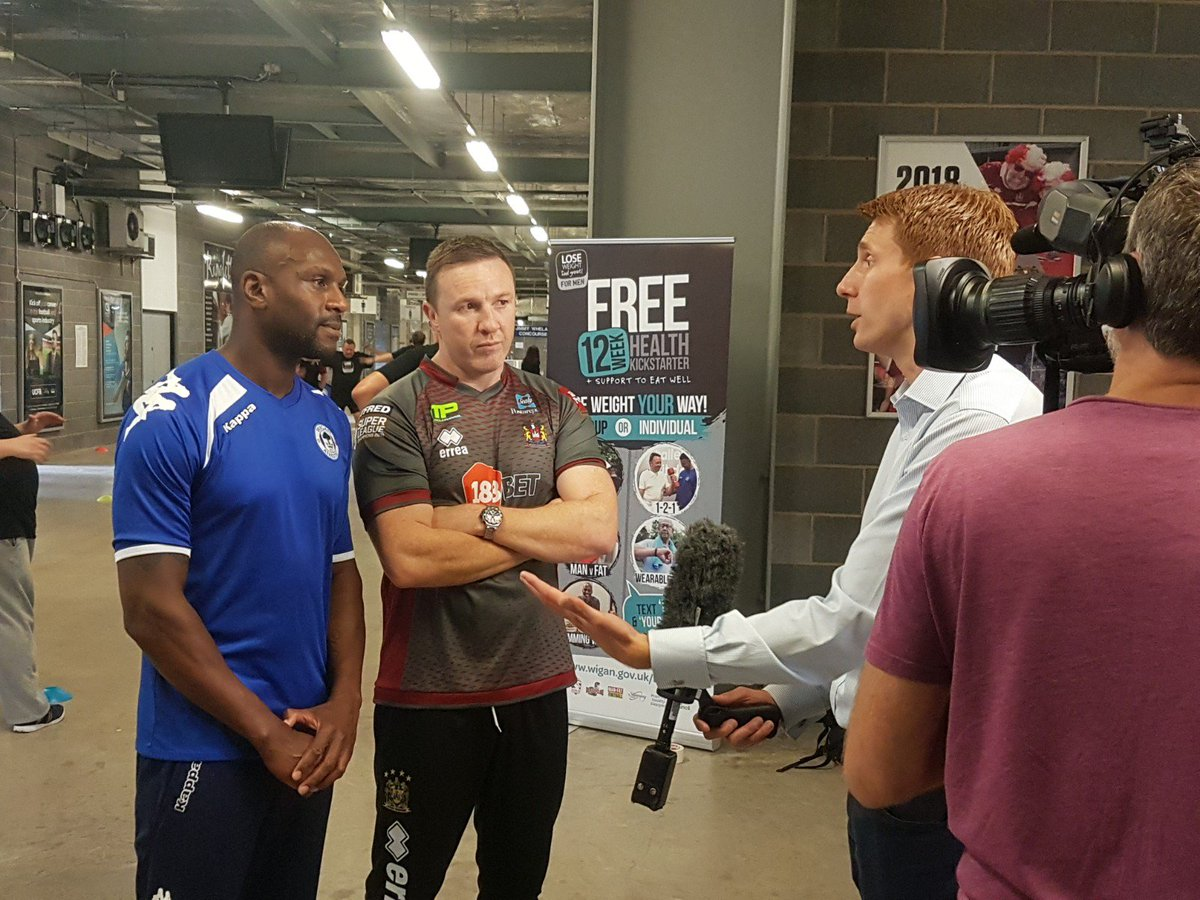 Fantastic to welcome @GranadaReports to the DW Stadium today to help launch our Lose Weight, Feel Great FOR MEN campaign (@LWFGonline) with @LaticsOfficial and @WiganWarriorsRL legends @EmmersonBoyce and @krisradlinski1 #MensHealthWeek #Wigan