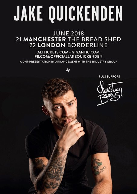 I'm so hyped up for this one 🙌🏻 I'm supporting this legend @JakeQuickenden at his headline shows in Manchester and London next week and I wanna see you all there 😘 Get yourself some tix right here 👉🏻 alttickets.com/jake-quickende…